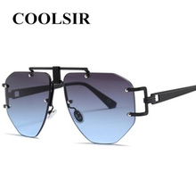 COOLSIR  Retro Steampunk Sunglasses Men Women Rimless Metal Frame Fashion Shades UV400 Vintage Glasses Oculos