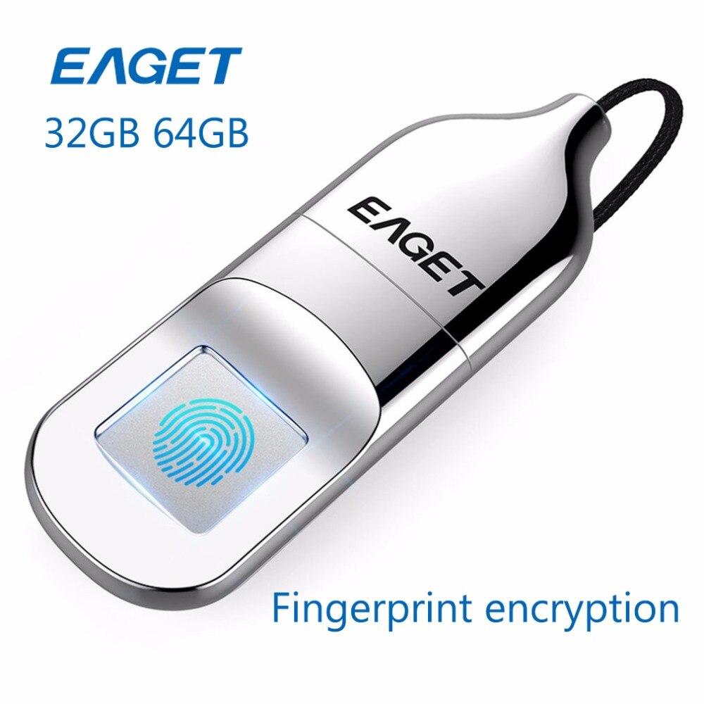 EAGET USB3.0 Flash Drive 32GB 64GB Pendrive Recognition Fingerprint Encryption Flash Disk USB Memory Stick Mini Pen Drive U DISK