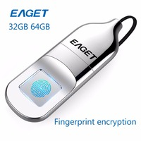 EAGET USB 32GB 64GB Flash Drive Pendrive Recognition Fingerprint Encryption Flash Disk USB Memory Stick Mini
