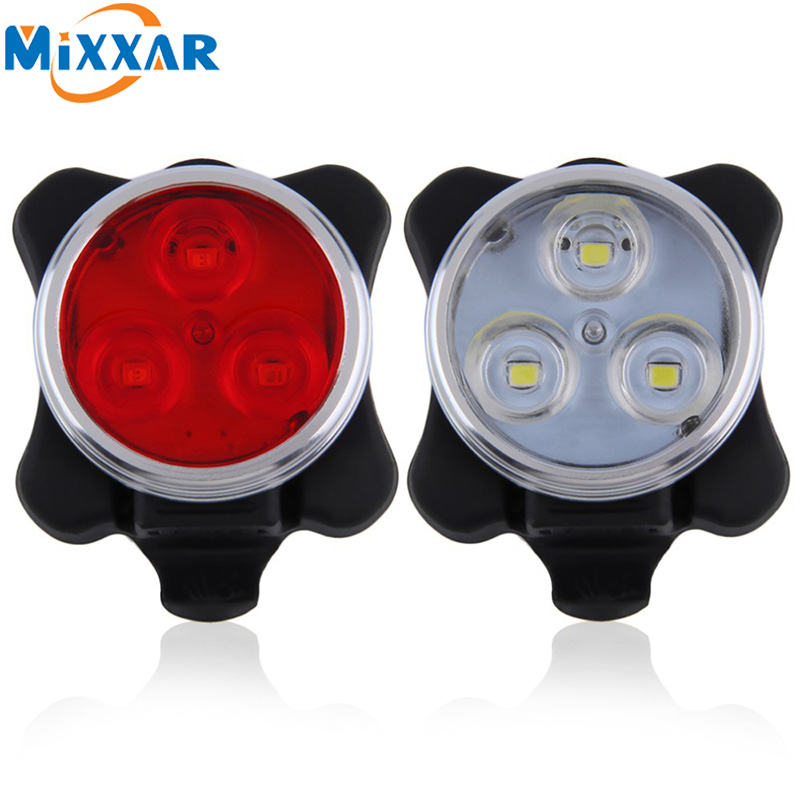 Practica 3 LED Head Front Rear Tail light Rechargeable Battery Practical Cycling Bicycle Bike Light USB Charging Cable Available hot sale 3x cree xml t6 led headlamp bike light 5000 lumen 18650 led head light 4x18650 battery pack charger bike rear light