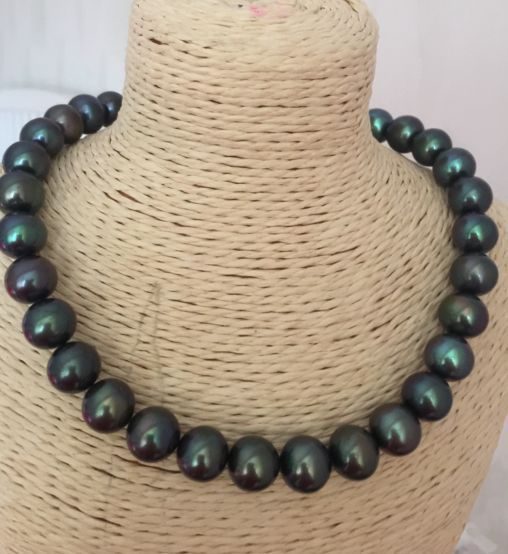 11-12mm freshwater black green round pearl necklace 18inch 925silver11-12mm freshwater black green round pearl necklace 18inch 925silver