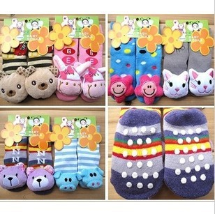 CL0108 Free Shipping 5pairs Baby Socks Animal Outdoor Shoes Anti-slip Walking Socks Child Stocking Socks, Sz 3 Mths-4 Years old
