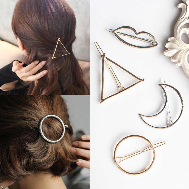 Épingles à cheveux géométriques pour filles | Épingles à cheveux en forme de Triangle lune, pince à cheveux étoile ronde pour femmes, Barrettes accessoires cheveux