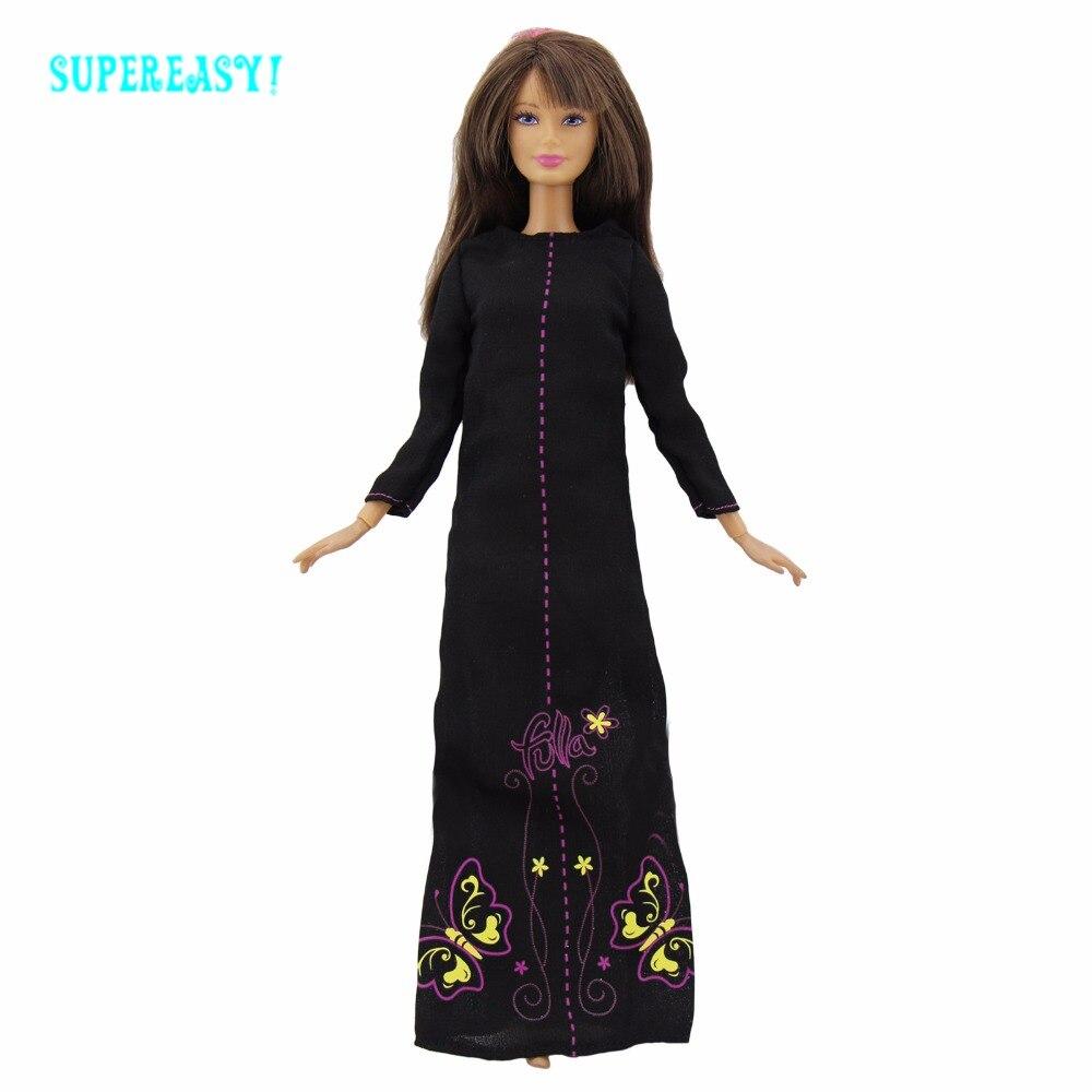 Экзотические черный длинное платье на Ближнем Востоке платье принцессы ежедневно носить одежду для Барби FR Kurhn кукла кукольный Интимные Ак...