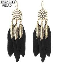 Vintage Men Women Dream Catcher Long Feather Drop Earrings Retro Tibetan Earrings Pendiente Women Earrings Gift bijoux