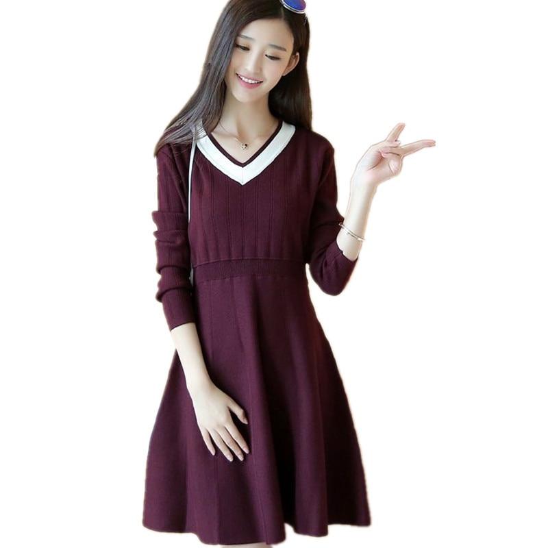 Knit AutumnWinter Full Sleeve V neck Sweater Dress Casual Women Comfortable Mini Vestidos Robe Elastic Bottoming Dress TT3424