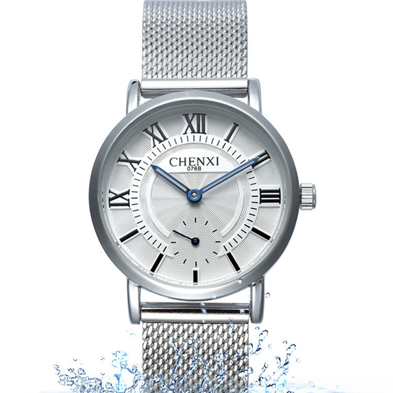 Chenxi Fashion Men Business Watches Luxury Quartz Waterproof Watch Mesh Stainless Steel Watchband Man Clock Wristwatches 076