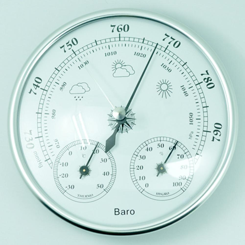 3-in-1 Indoor And Outdoor Thermometer Hygrometer Barometer Weather Station Multi-Purpose Gauge High-Precision Barometer european style dark gray 22 5cm 3 in 1 thermometer hygrometer barometer weather station