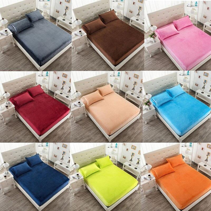 Velvet Warm Flannel Fleece 25cm Hight Twin/Full/Queen/King Size Fitted Sheet Bed Solid Color Gray Pink BlueWineGreenOrangePurple