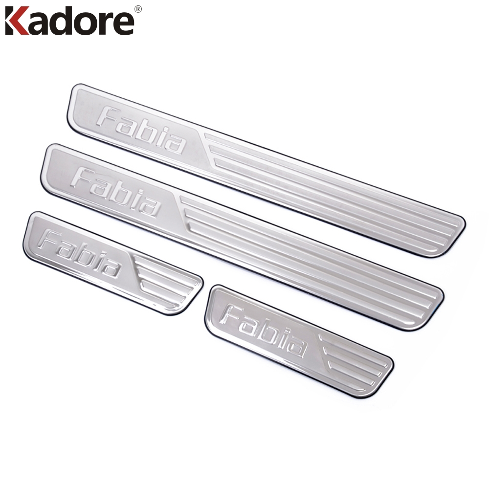 For skoda fabia 2009 2013 stainless steel door threshold protector pedals sill scuff plate running boards interior moulding