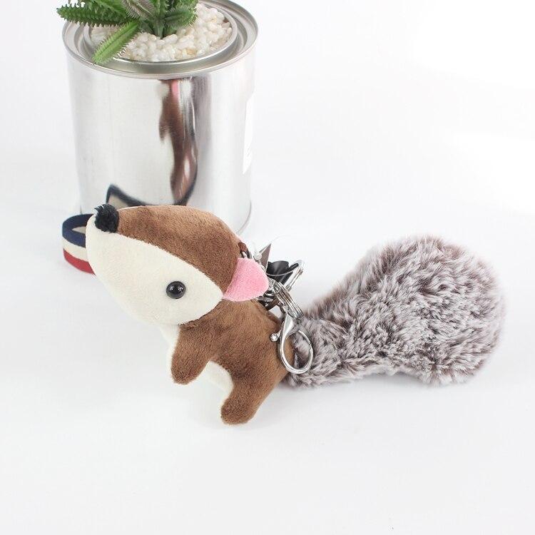 Bamboo Charcoal Fox Keychain Keyrings Women Bag Plush Accessory Charm Pendant Mini Stuffed Toy Cloth Wrist Rope Key Chains Gift