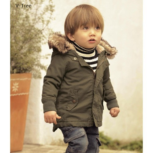 Boys Warm Hooded Coats Green Children Solid Thick Snow Outerwears For Winter Baby Kids Zipper Cotton-padded Jackets
