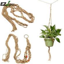 Vintage Knotted Plant Hanger Basket Handmade Braided Jute Rope Flowerpot Holder Macrame Lifting Rope Hanging Basket GB0041