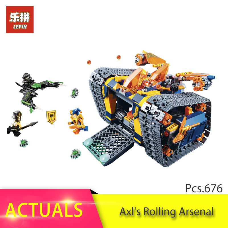 LEPIN 676pcs Nexo Knights Series The Axl's Rolling Arsenal Building Block Brick Toy For Children gift compatible Legoing 72006 lepin 14042 knights heavy armed mobile tracker model building blocks brick toys for children christma gift legoinglys 72006