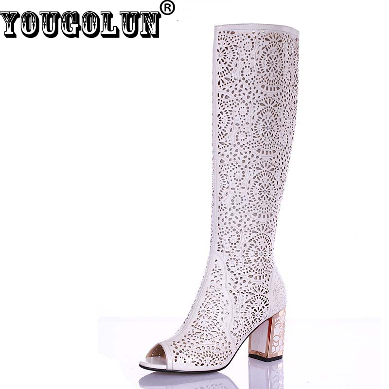 YOUGOLUN Women Summer Knee High Boots Hollow Crystal Thick Heel 7 5 cm High Heels Peep