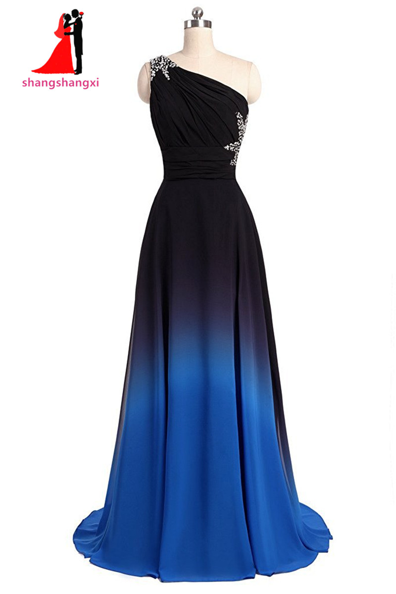 New one shoulder ombre long black blue gradient chiffon for Blue and black wedding dresses