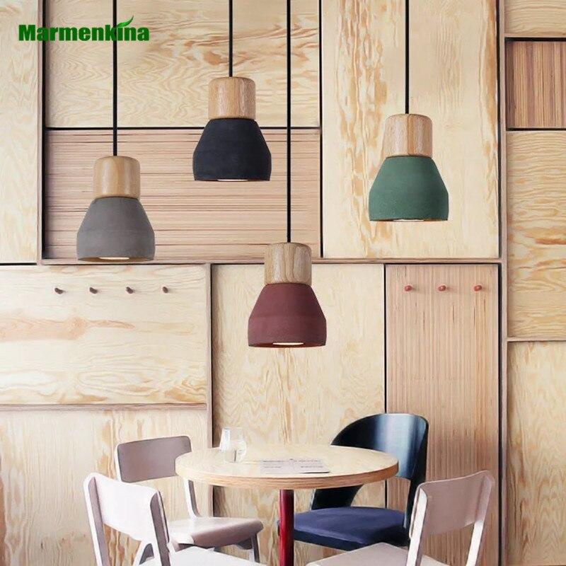 Nordic cafe restaurant bar counter bedside Pendant Lamp solid wood cement pendant light E27 / E26 AC110-240V