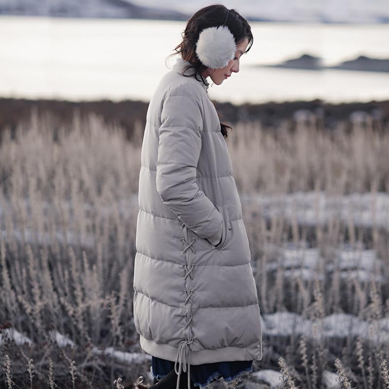 Image 2 - INMAN new winter baseball collar net color warm white eiderdown  long Down Coat femalefemale femalefemale coatfemale long coat -