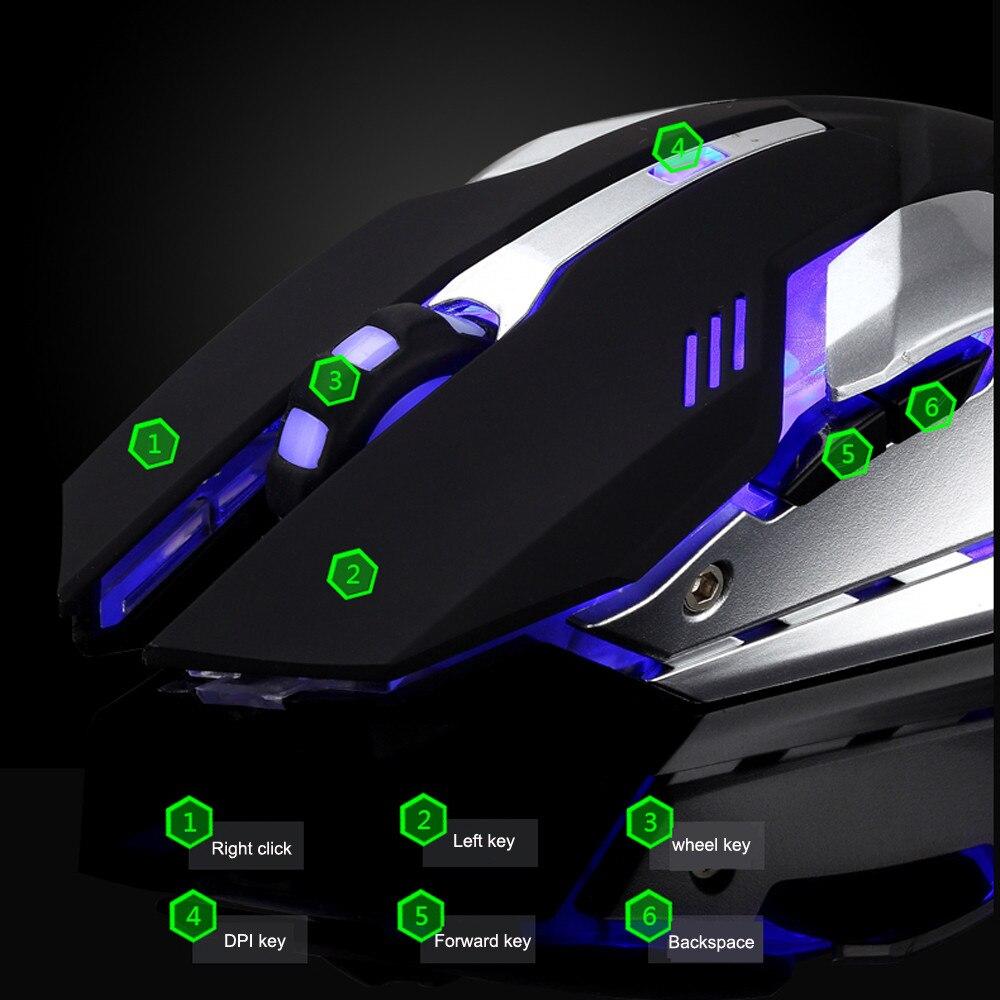 Image 4 - 充電式 T1 ワイヤレスサイレント LED バックライトの USB 光エルゴノミックゲーミングマウス -    グループ上の パソコン & オフィス からの マウス の中