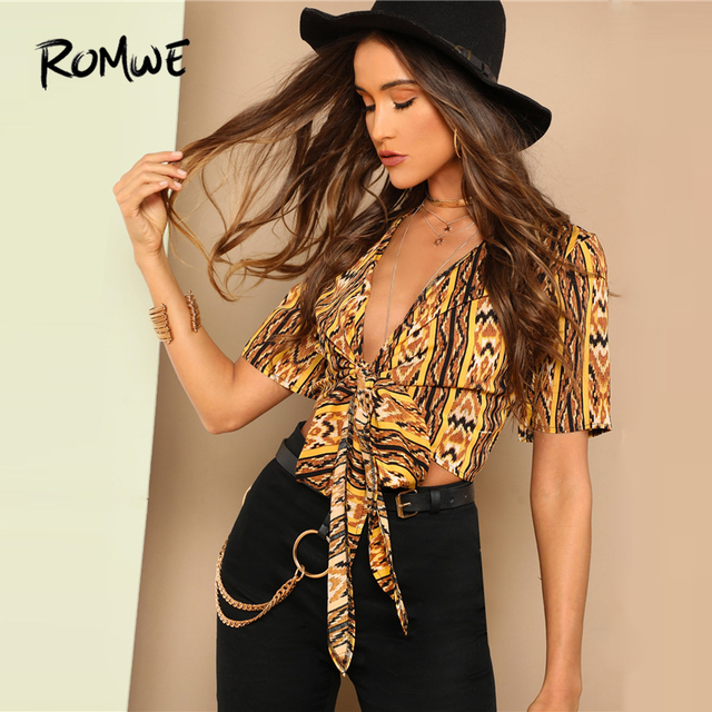 3e7514f7eaf ROMWE Plunging Neck Knot Hem Tribal Blouse 2019 Young Deep V Neck Geometric  Print Blouse Summer Sexy Slim Fit Women Top