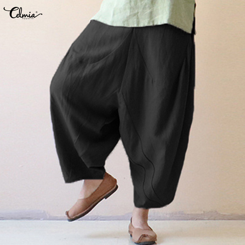 2019 Celmia Women Vintage Linen   Wide     Leg     Pants   Casual Loose Elastic Waist Harem   Pant   Solid Female Trousers Plus Size Pantalon