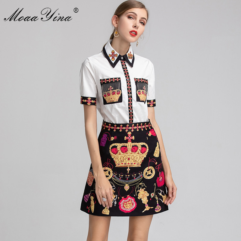 MoaaYina Fashion Designer Set Women Short sleeve Beading Elegant Shirt Tops Vintage Crown Print Short skirt