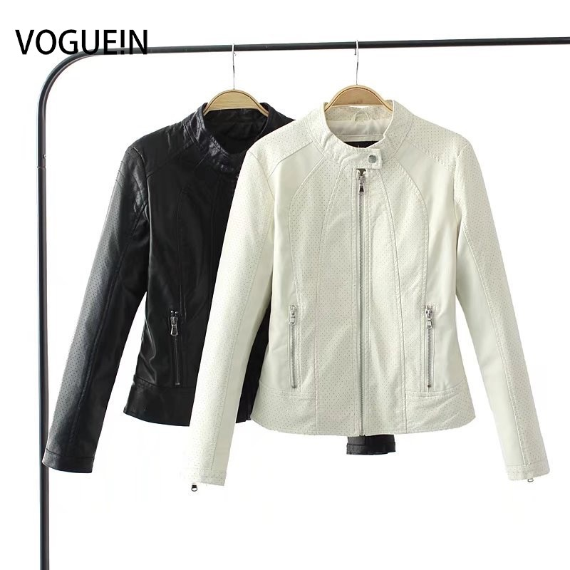 VOGUEIN New Womens Fashion Black/White Faux Leather Hollow Motorcycle Bomber Jacket Outerwear Coat  Wholesale