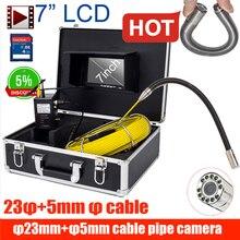 Горячая 7 дюймов 23 мм CCD700TVL длинный кабель камера труба канализационная инспекция видео камера сливная труба канализационная Инспекционная камера система