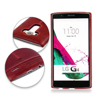 Pierre Cardin Genuine Leather Hard Back Case Cover For LG G4 Retro Cell Phone Cases Black