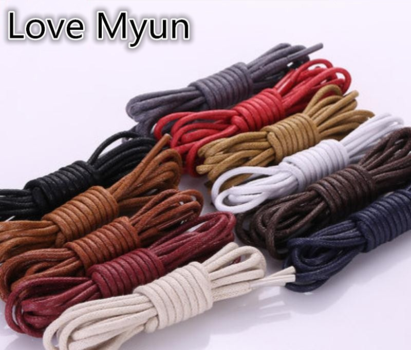 Round Waxed Shoelaces Leather Shoes Strings Boot Sport Shoe Laces Cord Shoelaces Black Brown Blue Purple Red Wine White 60-180CM