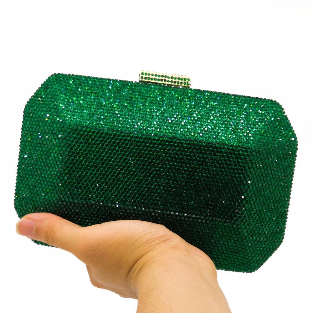 Boutique De FGG Sparkling Green Emerald Crystal Women Evening Bag Fashion Wedding Bridal Diamond Clutch Minaudiere Handbag Purse