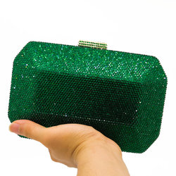 Boutique De FGG Sparkling Green Emerald Crystal Women Evening Bag Fashion Wedding Bridal Diamond Clutch Minaudiere Handbag Purse