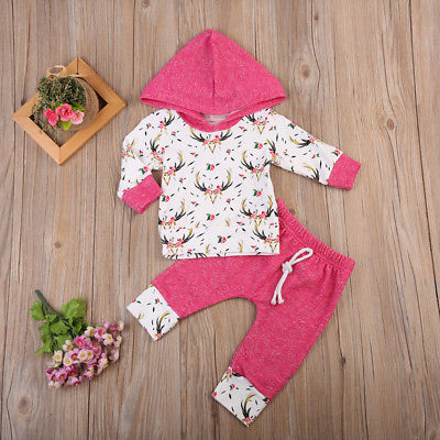 2Pcs Infant Newborn Baby Girls Autumn Winter Clothes Set Cotton Hooded Floral Coat Hoodies Tops Pants Kids Clothing Outfits Sets