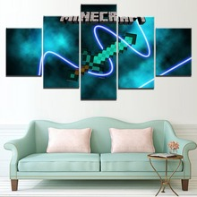 Canvas Painting Wall Art HD Prints Modular Pictures Framework 5 Pieces Minecraft Sword Game Poster For Living Room Decorative
