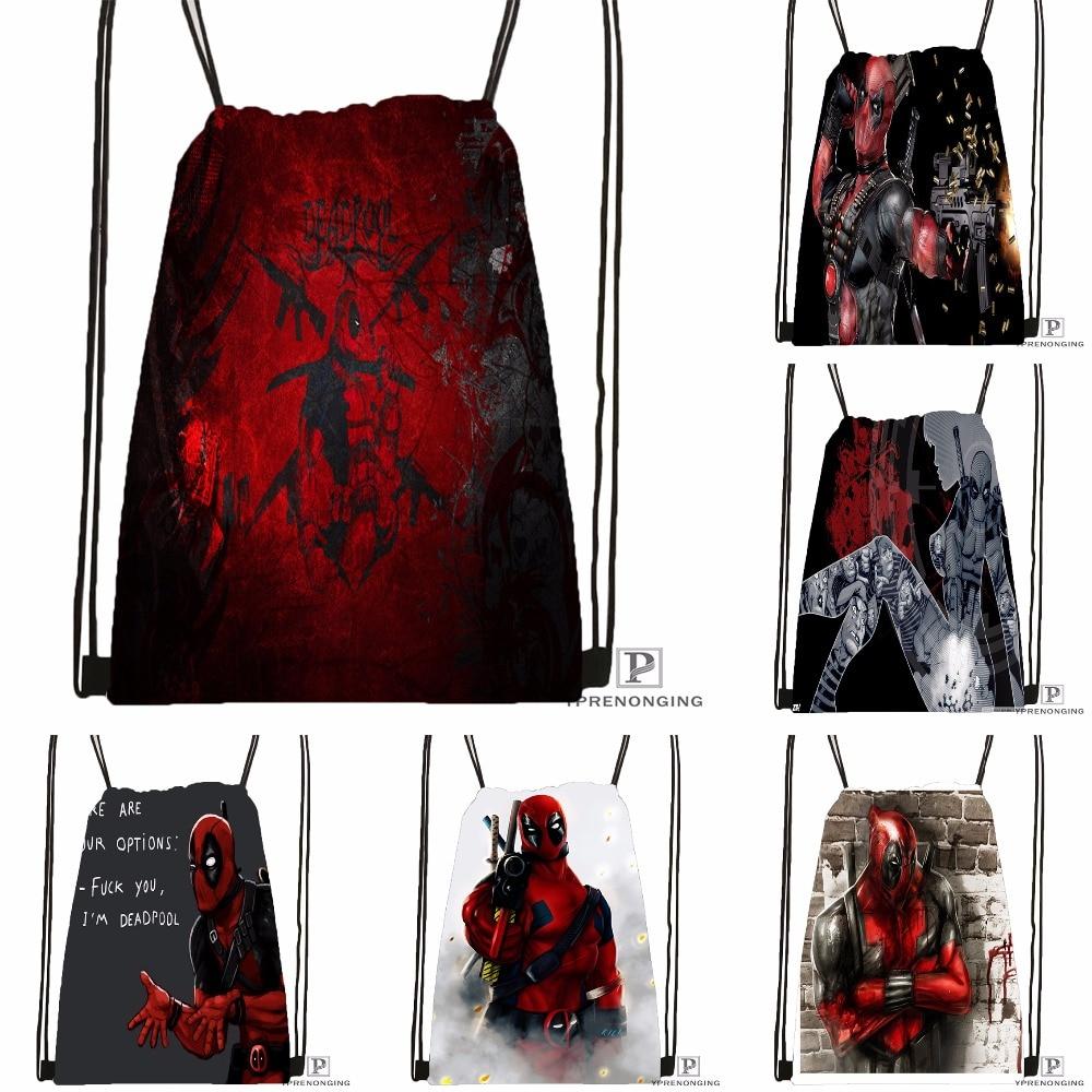 Custom Deadpool Marvel Comics Drawstring Backpack Bag Cute Daypack Kids Satchel (Black Back) 31x40cm#180531-02-32