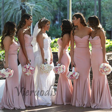 Simple Sweetheart Pink Bridesmaid Dresses Floor Length Long Wedding Guest Dress for Party robe demoiselle dhonneur