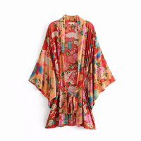 Artfeel 2018 New Arrival Sexy Kimono Women Smock Print Suit Slim Summer Beach Shawl Lace up Plus Size Blouse Feminino