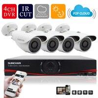 SUNCHAN Newst 4CH HD AHD DVR 4pcs 720P AHD IR Cameras 24 Leds Home Security System
