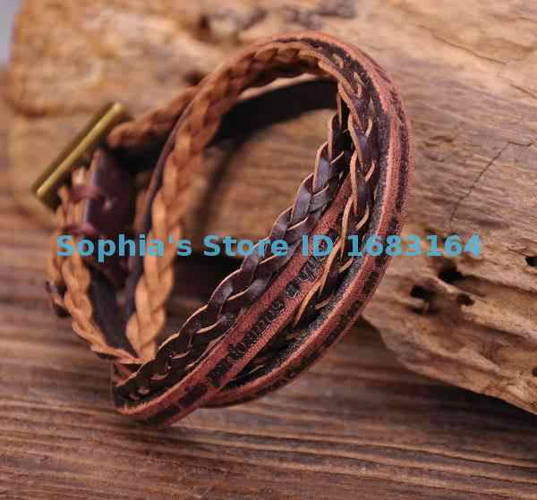 G120 marrón humano doble envoltura pulsera de cuero desgastado frases inspiradoras para hombre