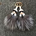 Fend Two Side Karl Monster Genuine Fox Fur Keychain For Bag Purse Handbag Charm Accessory Car Key Fashion Jewelry Cool Gift