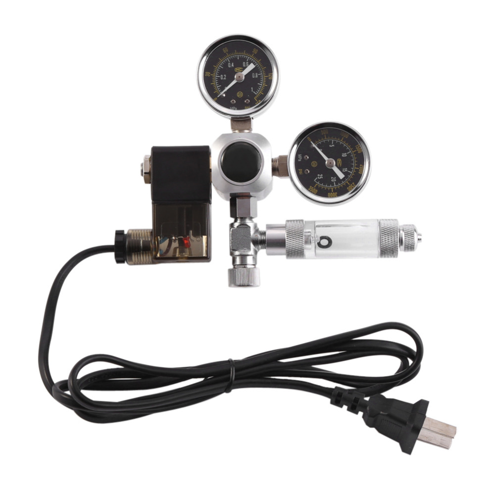 Aquarium CO2 Regulator Magnetic Solenoid Valve Aquarium System Dual Gauge Bubble Counter CO2 Pressure Regulator with Check Valve high pressure freon pressure gauge working together with charging valve check valve to monitor the system leakage changes