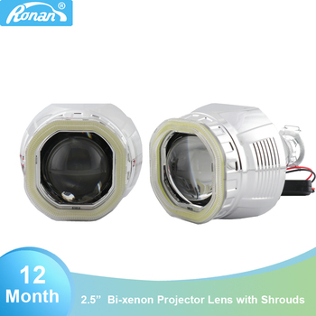 Ronan mini h1 Ver 8.1 2.5 inch bi xenon projector lens with cob led angel eyes for h1 h4 h7 socket car styling retrofit