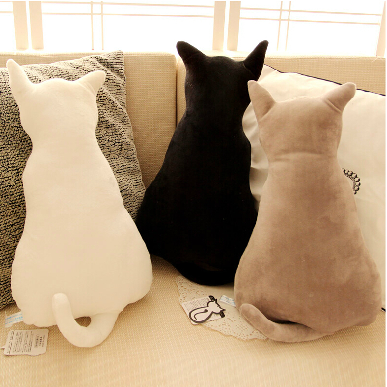 Hot 45cm Super Cute Soft Plush Back Shadow Cat Seat Sofa Pillow Cushion Stuffed Cartoon Pillow Creative Birthday Gift For Girls 2017 brand spring summer solid concise pumps sexy lady super high heel luxury women shoes flock pointed toe mature lady pumps