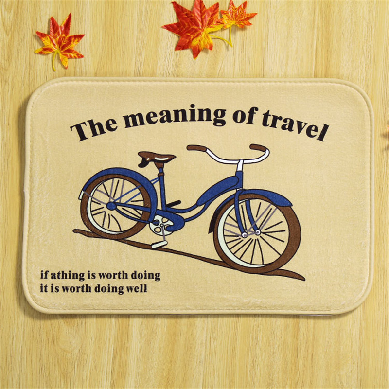 RUBI bike carpet doormat printed floor place soft mats bedroom home coral  fleece alfombras 38x58cm 100% polyester 67fc3b9f2390c