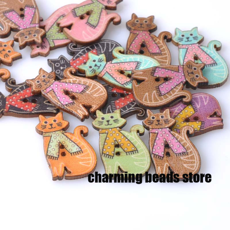 Lovely Cat painted Wooden decorative Buttons for Scrapbooking Craft Sewing Supplies 19x30mm 50pcs MT0437x