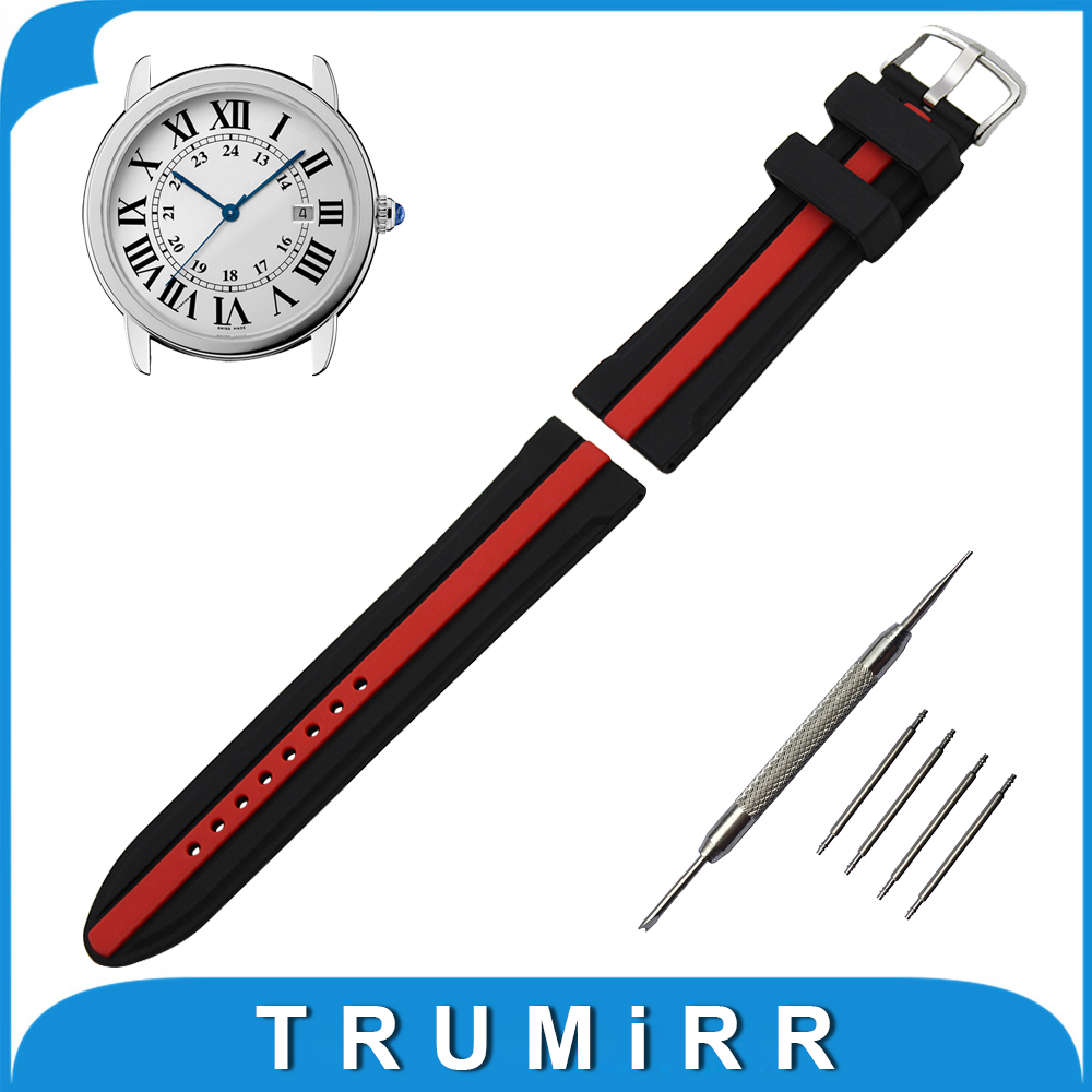 19mm 20mm 21mm 22mm 23mm 24mm Silicone Rubber Watch Band for Cartier Stainless Steel Buckle Wrist Strap Bracelet + Spring Bar 23mm 24mm silicone rubber watch band for tissot 1853 t035 t087 men stainless steel carved pattern buckle strap wrist bracelet