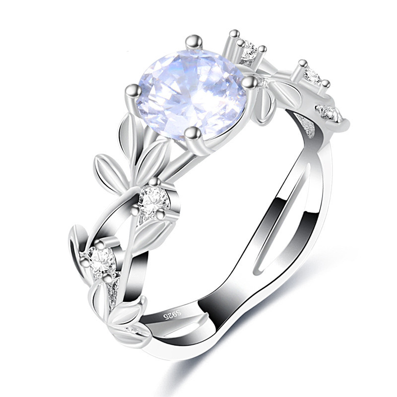 SHUANGR Luxury Antique Silver-plated CZ Engagement Rings Flower Rings Wedding Jewelry Gifts Size 7 8 9 Available