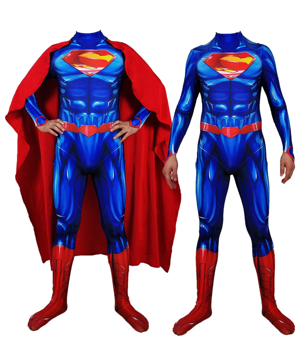 Free Shipping Halloween Costumes Amazing Superman Costumes Blue And Red Spandex Superhero Cosplay Costume For adult