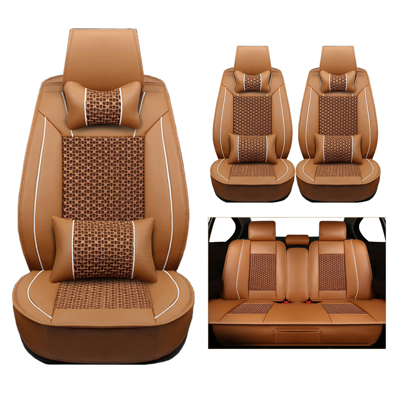(leather+silk) Car Seat Cover for Chrysler Sebring 300C PT Cruiser grand voyager Crossfire cars accessories-styling auto protect kokololee flax car seat covers for chrysler 300c pt cruiser grand voyager sebring car styling auto accessories car seats