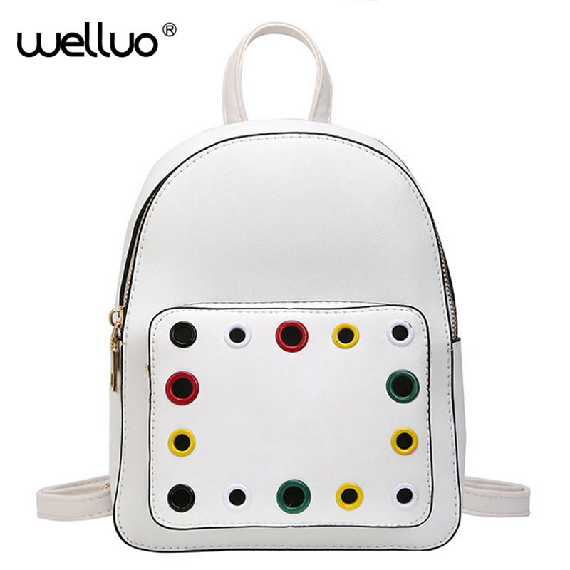 Brand Preppy Style School Women Backpack Fashion Colorful Hole Leather Shoulder Bags White A Front Pocket